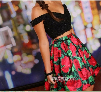 Floral Lace-Beaded Black Two-Piece Off-the-Shoulder Homecoming Dress UKes UK_3