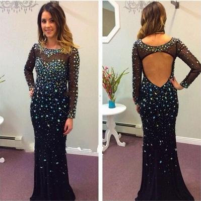 Elegant Black Long Sleeve Prom Dress UKes UK Crystals Long_3