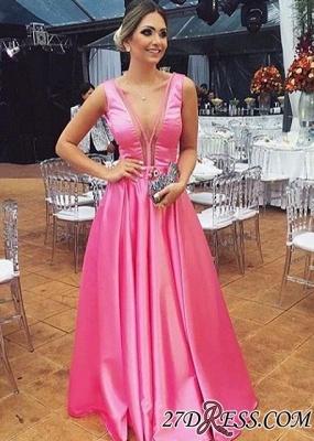Floor-length Pink A-line Sleeveless Chic V-neck Sexy Evening Dress UK_2