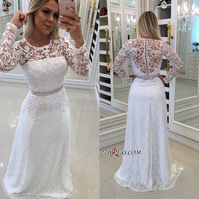 Scoop Long-Sleeves Lace White Buttons Evening Dress UK_1