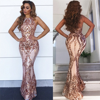 Sleeveless Open Back Sequins Prom Dresses Cheap 2019 | Sexy Spaghetti Straps Mermaid Champagne Evening Dress bc0506_3