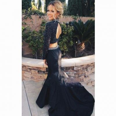 Elegant Beadings Black Two Piece Evening Dress UK Long Sleeve Mermaid High Neck_4