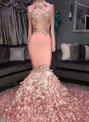 Sexy Round Neck Flower Long Sleeves Sequins Elegant Mermaid Prom Dress UKes UK UK_1