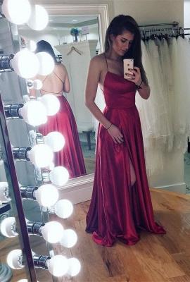 Spaghetti strap prom Dress UK with slit, party Dress UKes UK BA8048_1