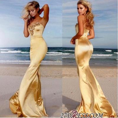 Sweetheart Crystals Sleeveless Sweep-Train Mermaid Elegant Prom Dress UK BA6763_2