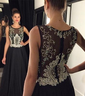 Newest Black Beadings A-line Evening Dress UK Illusion Zipper Sleeveless AP0_3