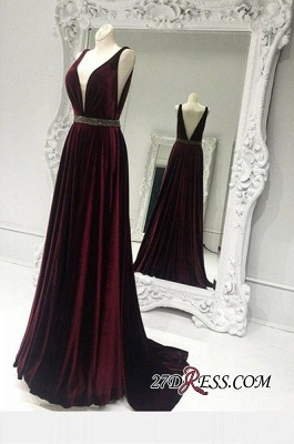 Elegant Sleeveless V-neck Burgundy Zipper Brads A-line Sweep-Train Prom Dress UK_1