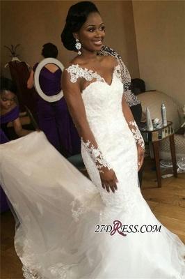 Jewel Lace Sheer-Neck Illusion Appliques Sexy Mermaid Long-Sleeve Nigeria Wedding Dresses UK_3
