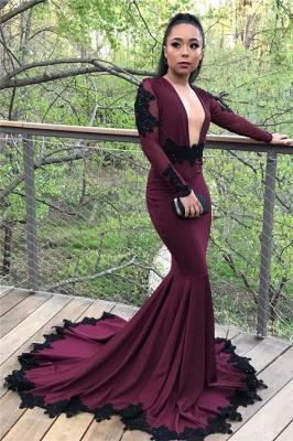 Burgundy long sleeve prom Dress UK, mermaid evening Dress UKes UK_2
