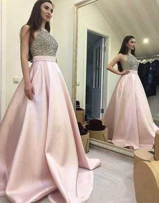 Sequin Beading Round-neck Pink Sweep-train A-line Sexy Prom Dress UK_2