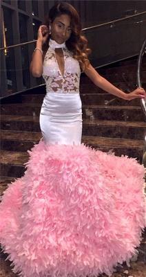 Modern Halter Lace Ruffles Prom Dress UK | Open Back Prom Dress UK BK0_2