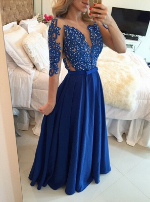 Delicate Chffion Royal Blue Prom Dress UK Lace Appliques Half Sleeve_1
