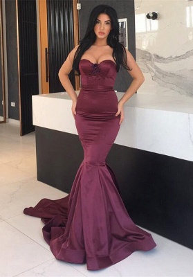 Gorgeous Maroon Sweetheart Mermaid Prom Dress UK Long With Beads_6