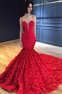 Red Spaghetti-Strap Prom Dress UK | Evening Dress UK With Flowers Bottom BA8856_1