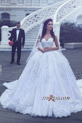 Ball-Gown Gorgeous Lace Sweetheart Flowers Sleevesless Wedding Dress cc0050_3