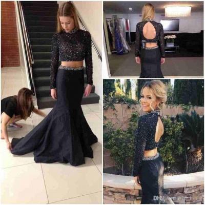 Elegant Beadings Black Two Piece Evening Dress UK Long Sleeve Mermaid High Neck_3