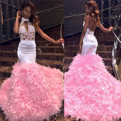 Modern Halter Lace Ruffles Prom Dress UK | Open Back Prom Dress UK BK0_3