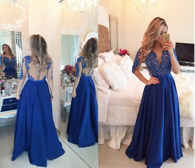 Delicate Chffion Royal Blue Prom Dress UK Lace Appliques Half Sleeve_2