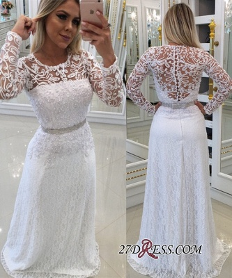 Scoop Long-Sleeves Lace White Buttons Evening Dress UK_2