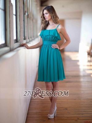Modern Sleeveless Chiffon Short Prom Dress UK With Spaghetti Strap Knee-length_2