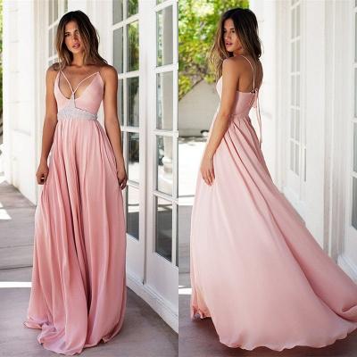 Sexy Pink Spaghetti Straps Prom Dress UK Summer Chiffon Beads BA3230_4