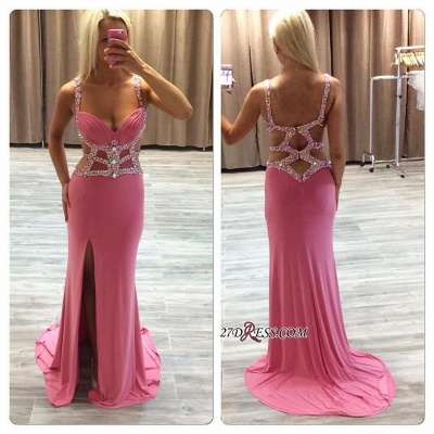Ruffles Straps Gorgeous Sheath Side-Slit Crystal Prom Dress UK_1