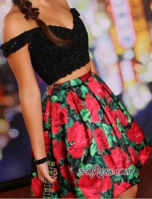 Floral Lace-Beaded Black Two-Piece Off-the-Shoulder Homecoming Dress UKes UK_4