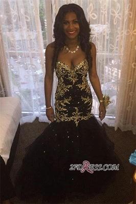 Beaded Tulle Elegant Sweetheart Mermaid Black Popular Appliques Gold Prom Dress UKes UK JJ0131 BK0_1
