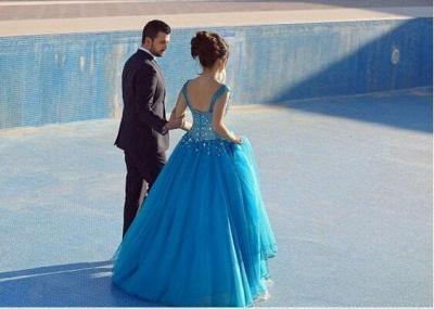 Sleeveless Long Crystals Straps A-line Luxury Evening Dress UK SP0179_3