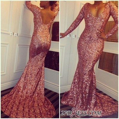 Sequined Mermaid Elegant Simple Long-Sleeves Prom Dress UKes UK BA3866_1