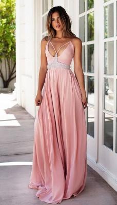 Sexy Pink Spaghetti Straps Prom Dress UK Summer Chiffon Beads BA3230_3
