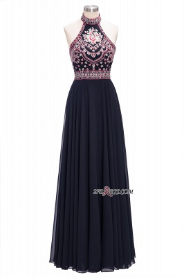 Halter Backless Black Sexy Long Chiffon Evening Dress UKes UK_6