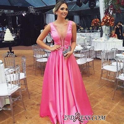 Floor-length Pink A-line Sleeveless Chic V-neck Sexy Evening Dress UK_1