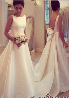 Jewel Sleeveless Bow Sweep-Train A-line Elegant Wedding Dress_2