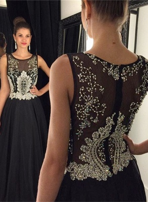 Newest Black Beadings A-line Evening Dress UK Illusion Zipper Sleeveless AP0_2