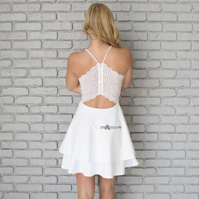 White Spaghetti-Strap Cute Lace Mini Sleeveless Homecoming Dress UK_4