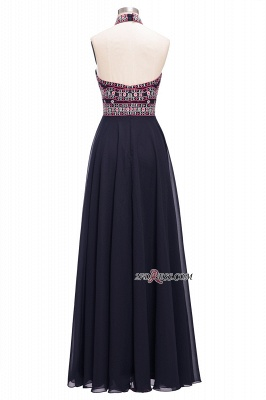 Halter Backless Black Sexy Long Chiffon Evening Dress UKes UK_3