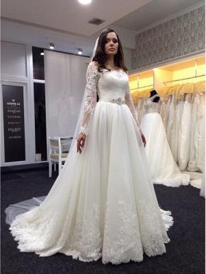 Elegant Bateau Long Sleeve Tulle Wedding Dress With Lace_1