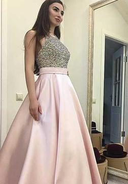 Sequin Beading Round-neck Pink Sweep-train A-line Sexy Prom Dress UK_1