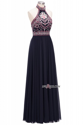 Halter Backless Black Sexy Long Chiffon Evening Dress UKes UK_5