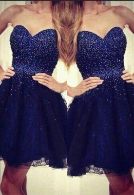 Strapless Sweetheart Short Beading Tulle Navy-Blue Sequins Homecoming Dress UKes UK_3