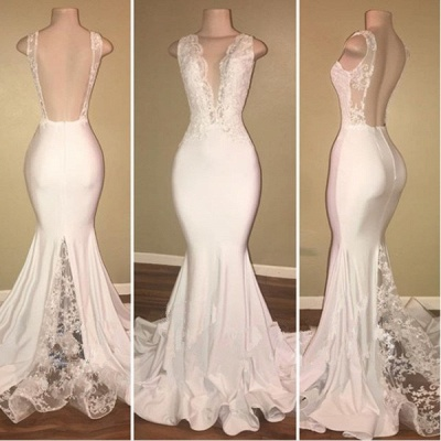 Sexy White Lace Evening Dress UK Mermaid Lace Backless Party Gowns BA7772_3