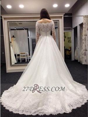 Elegant Bateau Long Sleeve Tulle Wedding Dress With Lace_2