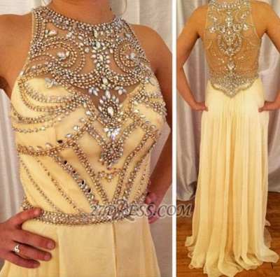 Gorgeous High Neck Sleeveless Prom Dress UK Beadings Crystals Long Chiffon Evening Gowns_2