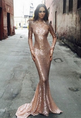 Elegant Sequined Mermaid Long Sleeve Prom Dress UK High Neck Sweep Train_1