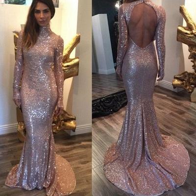 Elegant Sequined Mermaid Long Sleeve Prom Dress UK High Neck Sweep Train_3