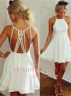 Backless Mini Modest White Sleeveless Homecoming Dress UK_1