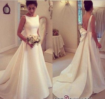 Jewel Sleeveless Bow Sweep-Train A-line Elegant Wedding Dress_1