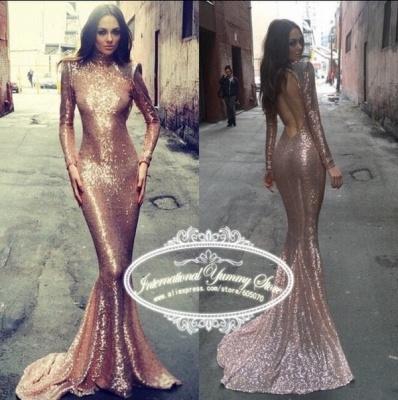 Elegant Sequined Mermaid Long Sleeve Prom Dress UK High Neck Sweep Train_4