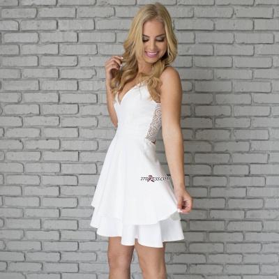 White Spaghetti-Strap Cute Lace Mini Sleeveless Homecoming Dress UK_5